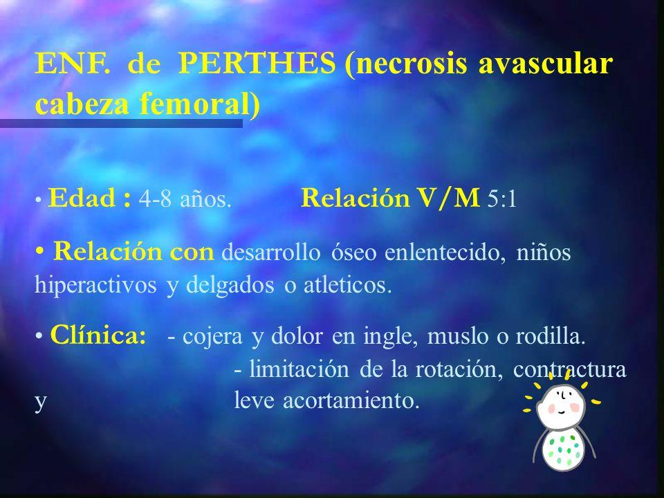 Dco: de EXCLUSION. Rx: - aumento distancia acetabulo-cabeza femoral. - posible derrame articular en ECO. Tto: - AINES y reposo. - mejoría en 24-48 hor