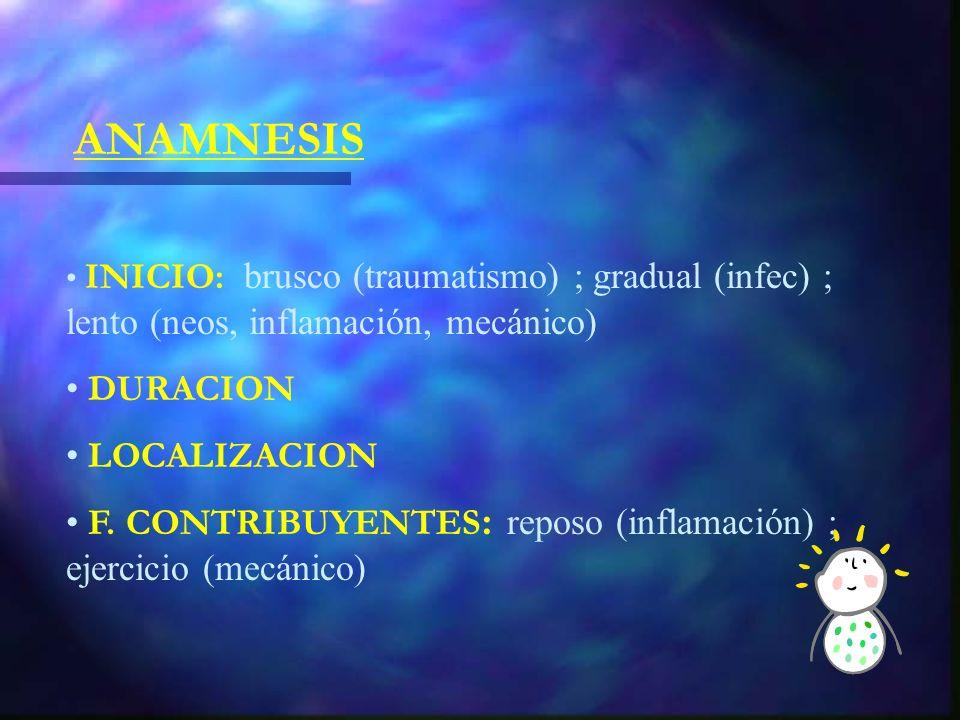 ANAMNESIS INICIO: brusco (traumatismo) ; gradual (infec) ; lento (neos, inflamación, mecánico) DURACION LOCALIZACION F.