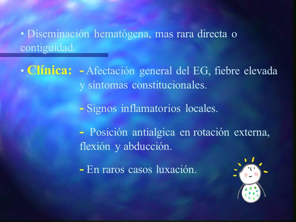 ARTRITIS SEPTICA Incidencia max. 2-6 a. Relación V/M 2:1 Localizacion: s.t. en articulaciones EEII. Antecedente traumatico, quirurgico... Etiología: S