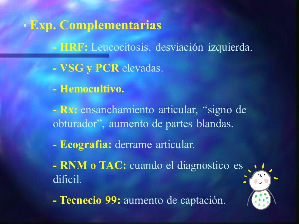 Diseminación hematógena, mas rara directa o contiguidad. Clínica:- Afectación general del EG, fiebre elevada y síntomas constitucionales. - Signos inf
