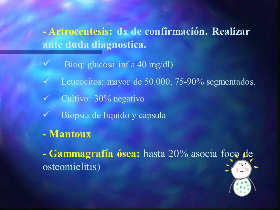 Exp. Complementarias - HRF: Leucocitosis, desviación izquierda. - VSG y PCR elevadas. - Hemocultivo. - Rx: ensanchamiento articular, signo de obturado