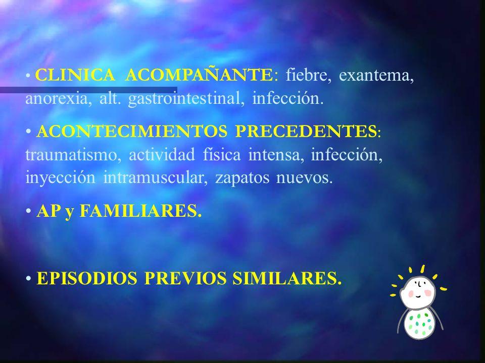 ANAMNESIS INICIO: brusco (traumatismo) ; gradual (infec) ; lento (neos, inflamación, mecánico) DURACION LOCALIZACION F. CONTRIBUYENTES : reposo (infla