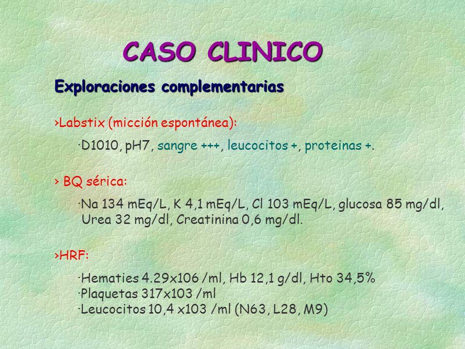 Exploraciones complementarias CASO CLINICO Labstix (micción espontánea): ·D1010, pH7, sangre +++, leucocitos +, proteinas +. ·Na 134 mEq/L, K 4,1 mEq/