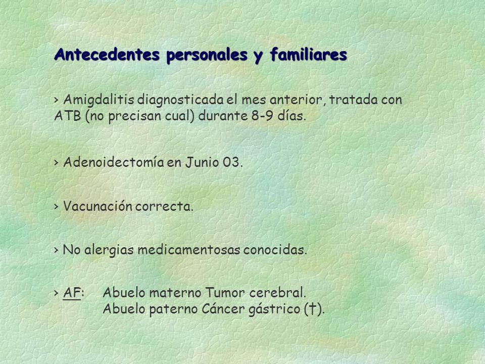 Antecedentes personales y familiares Amigdalitis diagnosticada el mes anterior, tratada con ATB (no precisan cual) durante 8-9 días. Adenoidectomía en
