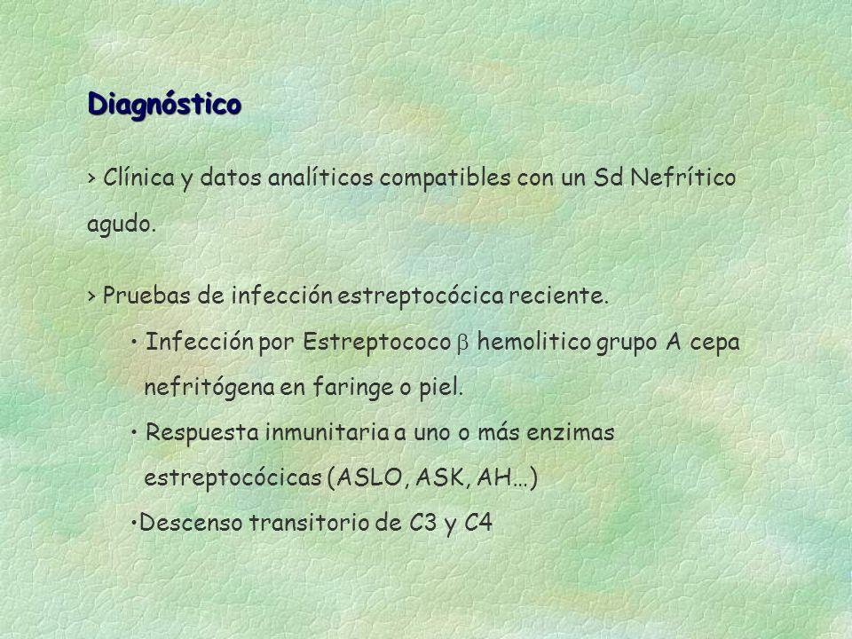 Diagnóstico Clínica y datos analíticos compatibles con un Sd Nefrítico agudo. Pruebas de infección estreptocócica reciente. Infección por Estreptococo