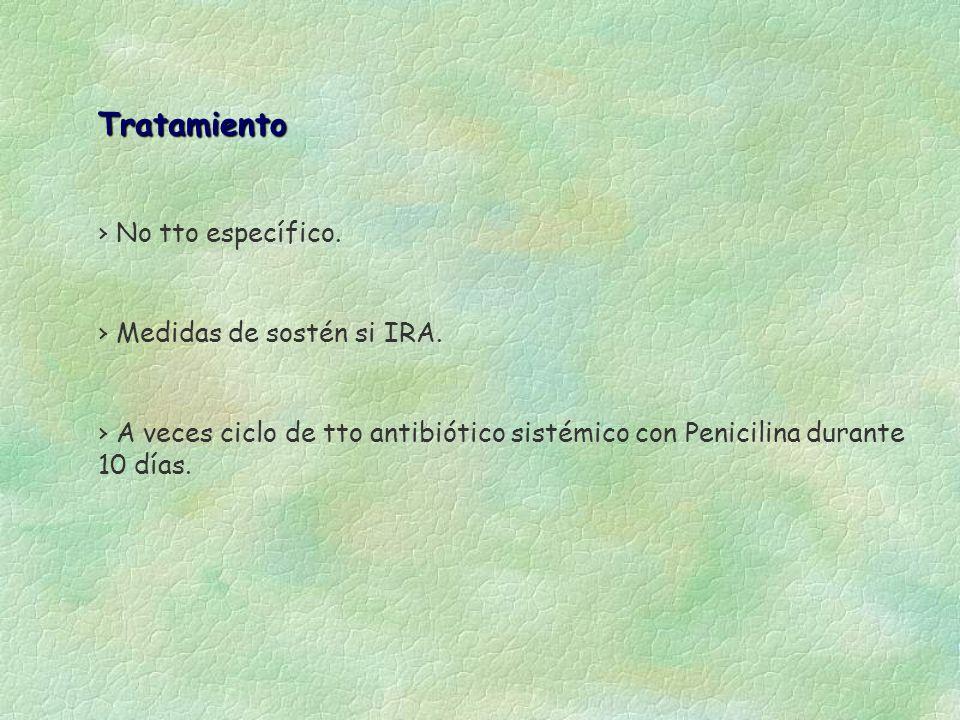Tratamiento No tto específico. A veces ciclo de tto antibiótico sistémico con Penicilina durante 10 días. Medidas de sostén si IRA.