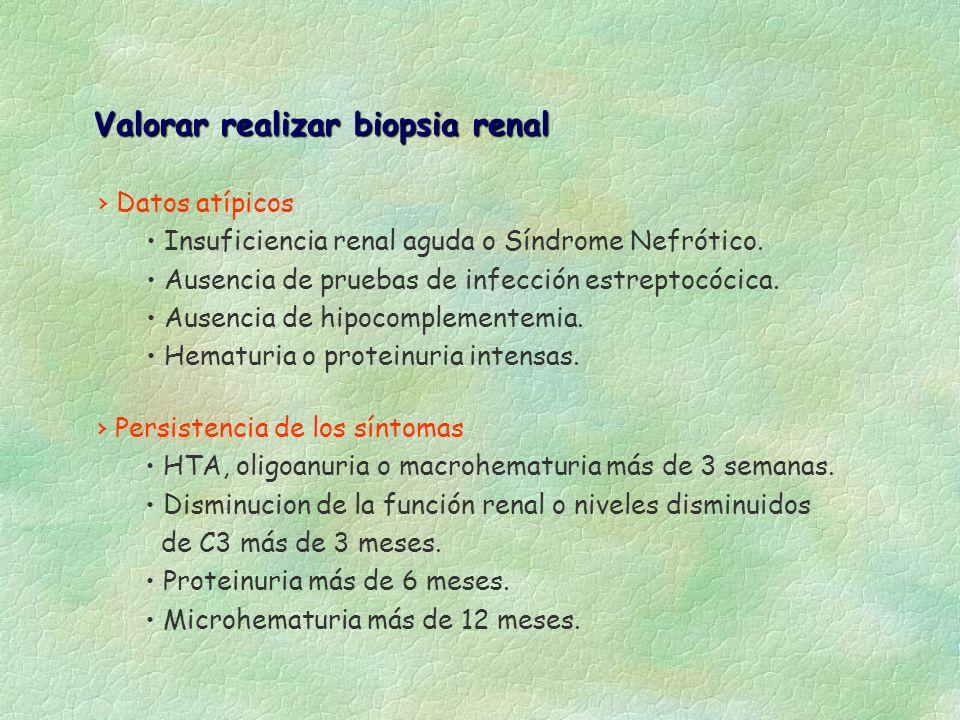 Valorar realizar biopsia renal Datos atípicos Insuficiencia renal aguda o Síndrome Nefrótico. Ausencia de pruebas de infección estreptocócica. Ausenci