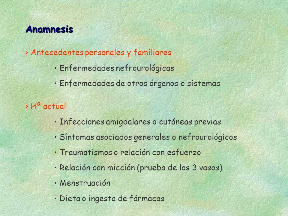 Anamnesis Antecedentes personales y familiares Enfermedades nefrourológicas Enfermedades de otros órganos o sistemas Hª actual Infecciones amigdalares