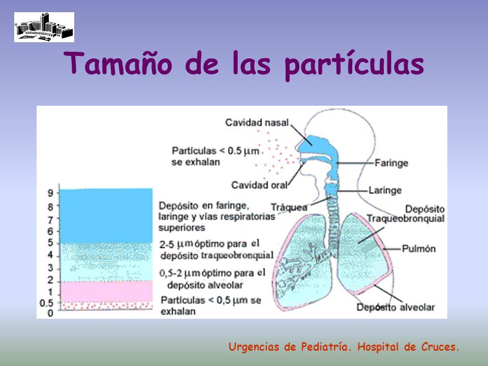 Tamaño de las partículas Urgencias de Pediatría. Hospital de Cruces.