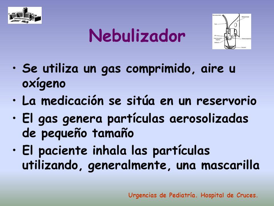 Nebulizador Se utiliza un gas comprimido, aire u oxígeno La medicación se sitúa en un reservorio El gas genera partículas aerosolizadas de pequeño tam