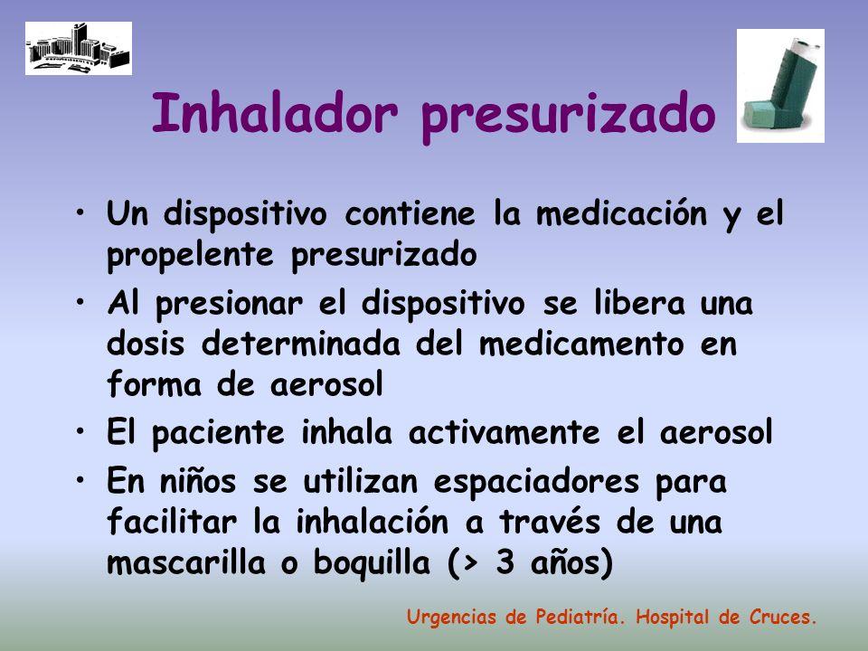 Inhalador presurizado Un dispositivo contiene la medicación y el propelente presurizado Al presionar el dispositivo se libera una dosis determinada de