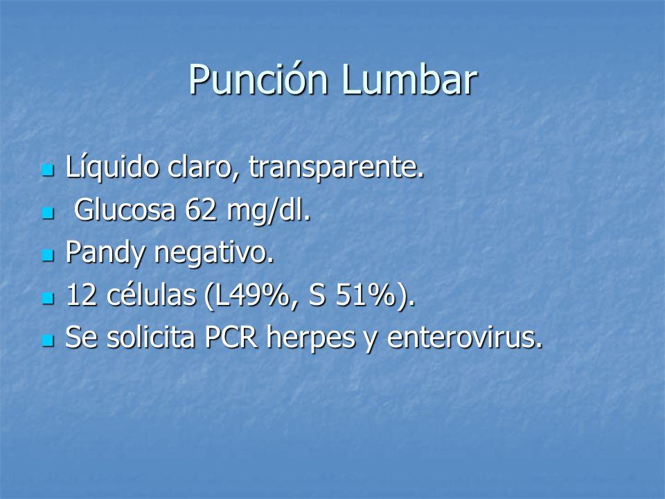 Punción Lumbar Líquido claro, transparente. Líquido claro, transparente. Glucosa 62 mg/dl. Glucosa 62 mg/dl. Pandy negativo. Pandy negativo. 12 célula