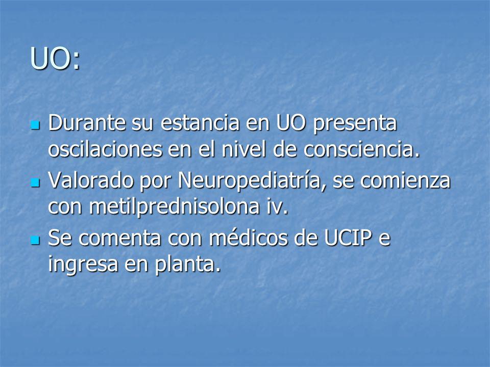 UO: Durante su estancia en UO presenta oscilaciones en el nivel de consciencia. Durante su estancia en UO presenta oscilaciones en el nivel de conscie