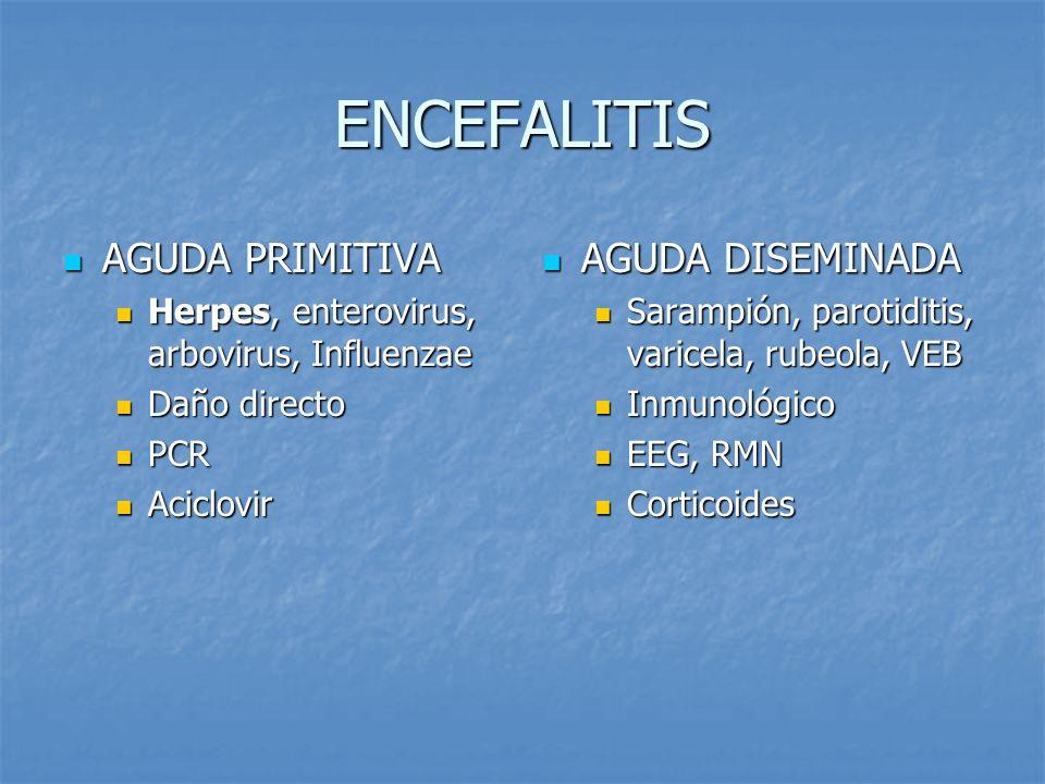ENCEFALITIS AGUDA PRIMITIVA AGUDA PRIMITIVA Herpes, enterovirus, arbovirus, Influenzae Herpes, enterovirus, arbovirus, Influenzae Daño directo Daño di