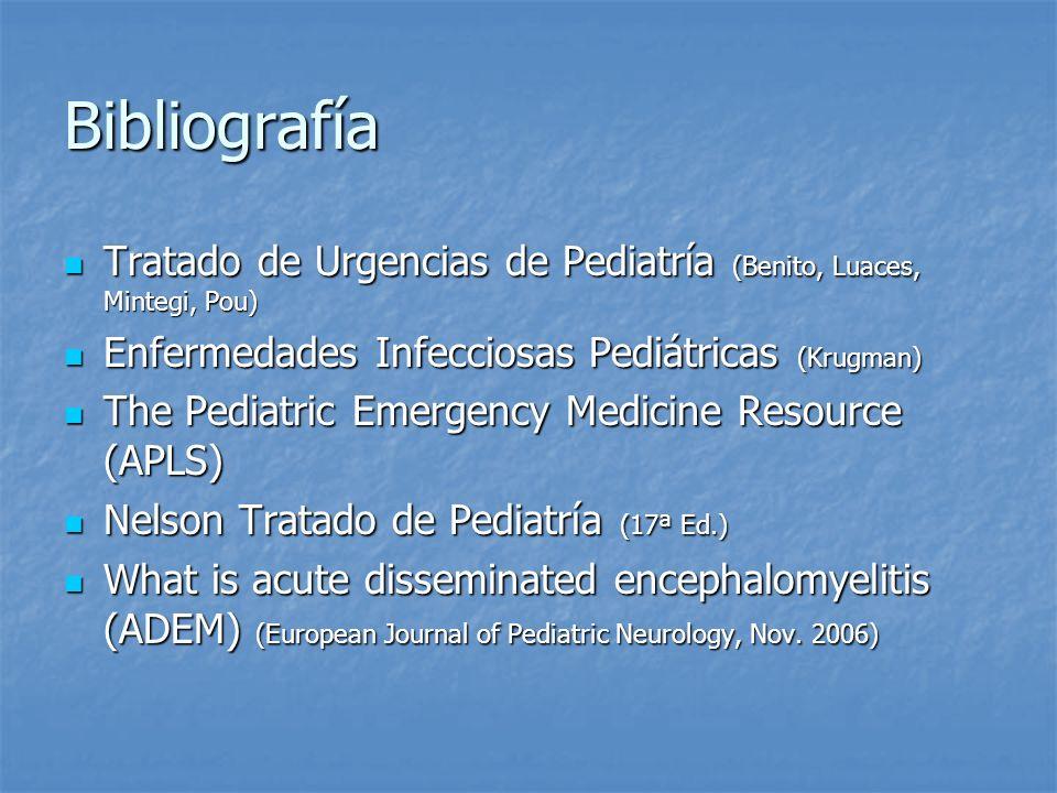 Bibliografía Tratado de Urgencias de Pediatría (Benito, Luaces, Mintegi, Pou) Tratado de Urgencias de Pediatría (Benito, Luaces, Mintegi, Pou) Enferme