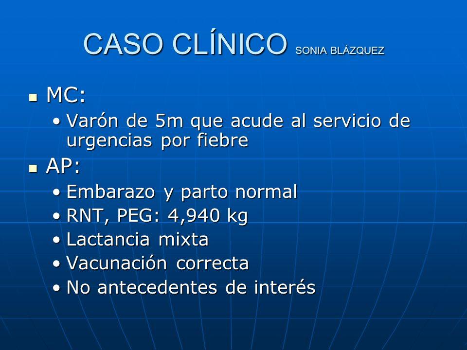 CASO CLÍNICO SONIA BLÁZQUEZ MC: MC: Varón de 5m que acude al servicio de urgencias por fiebreVarón de 5m que acude al servicio de urgencias por fiebre
