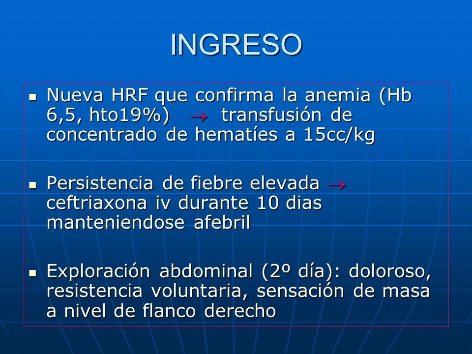 INGRESO Nueva HRF que confirma la anemia (Hb 6,5, hto19%) transfusión de concentrado de hematíes a 15cc/kg Nueva HRF que confirma la anemia (Hb 6,5, h