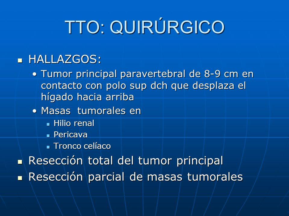 TTO: QUIRÚRGICO HALLAZGOS: HALLAZGOS: Tumor principal paravertebral de 8-9 cm en contacto con polo sup dch que desplaza el hígado hacia arribaTumor pr