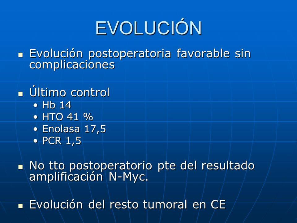 EVOLUCIÓN Evolución postoperatoria favorable sin complicaciones Evolución postoperatoria favorable sin complicaciones Último control Último control Hb