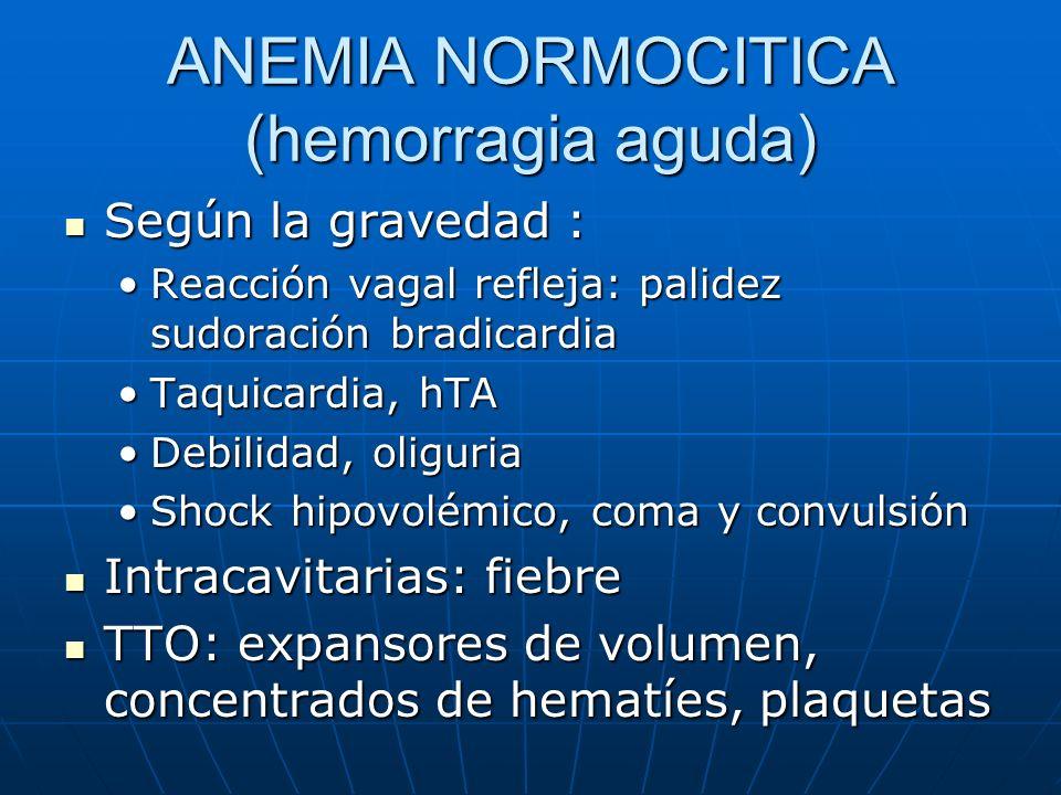 ANEMIA NORMOCITICA (hemorragia aguda) Según la gravedad : Según la gravedad : Reacción vagal refleja: palidez sudoración bradicardiaReacción vagal ref