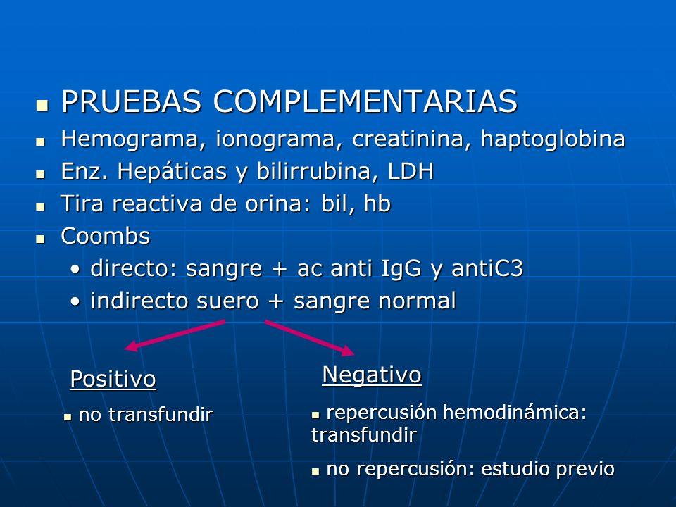 PRUEBAS COMPLEMENTARIAS PRUEBAS COMPLEMENTARIAS Hemograma, ionograma, creatinina, haptoglobina Hemograma, ionograma, creatinina, haptoglobina Enz. Hep