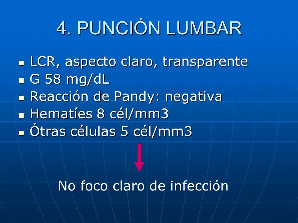 LCR, aspecto claro, transparente LCR, aspecto claro, transparente G 58 mg/dL G 58 mg/dL Reacción de Pandy: negativa Reacción de Pandy: negativa Hematí