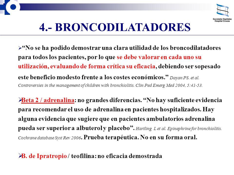 4.- BRONCODILATADORES No se ha podido demostrar una clara utilidad de los broncodilatadores para todos los pacientes, por lo que se debe valorar en ca