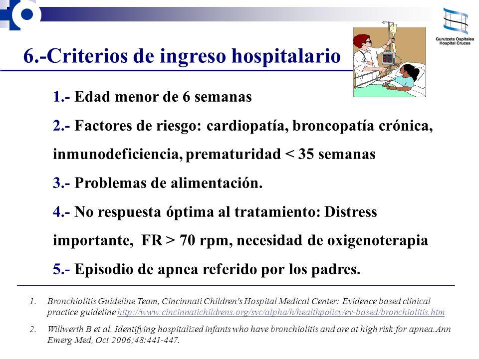 6.-Criterios de ingreso hospitalario 1.- Edad menor de 6 semanas 2.- Factores de riesgo: cardiopatía, broncopatía crónica, inmunodeficiencia, prematur