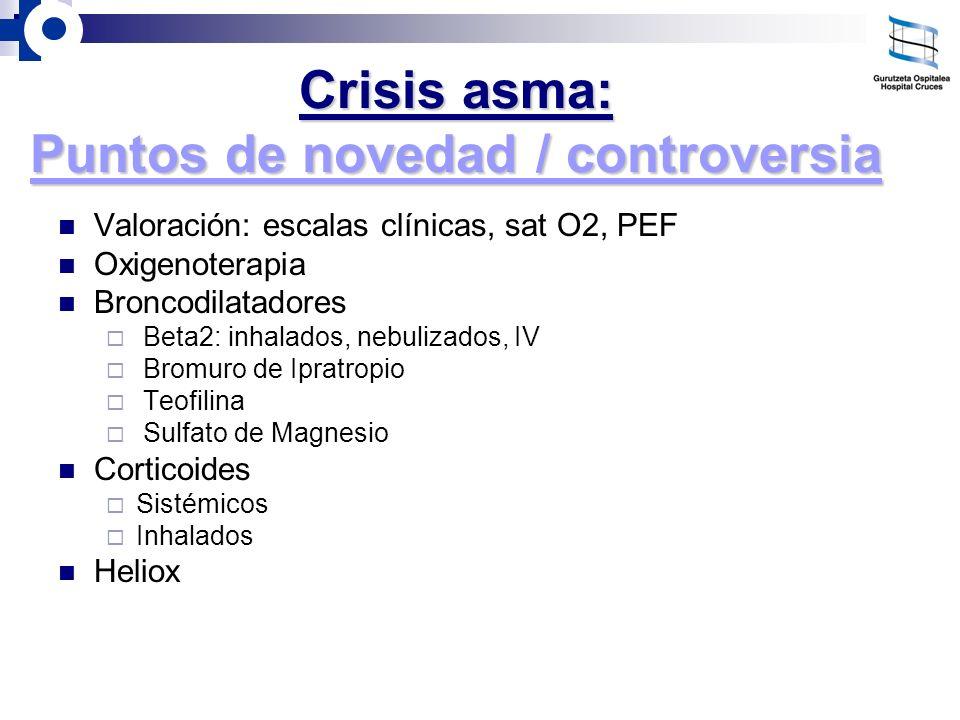 Crisis asma: Puntos de novedad / controversia Valoración: escalas clínicas, sat O2, PEF Oxigenoterapia Broncodilatadores Beta2: inhalados, nebulizados
