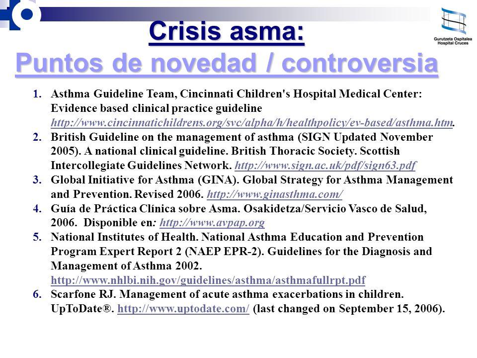 Crisis asma: Puntos de novedad / controversia 1.Asthma Guideline Team, Cincinnati Children's Hospital Medical Center: Evidence based clinical practice