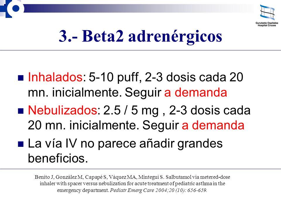 3.- Beta2 adrenérgicos Inhalados: 5-10 puff, 2-3 dosis cada 20 mn. inicialmente. Seguir a demanda Nebulizados: 2.5 / 5 mg, 2-3 dosis cada 20 mn. inici