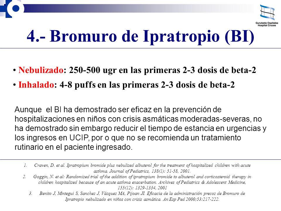 4.- Bromuro de Ipratropio (BI) Aunque el BI ha demostrado ser eficaz en la prevención de hospitalizaciones en niños con crisis asmáticas moderadas-sev