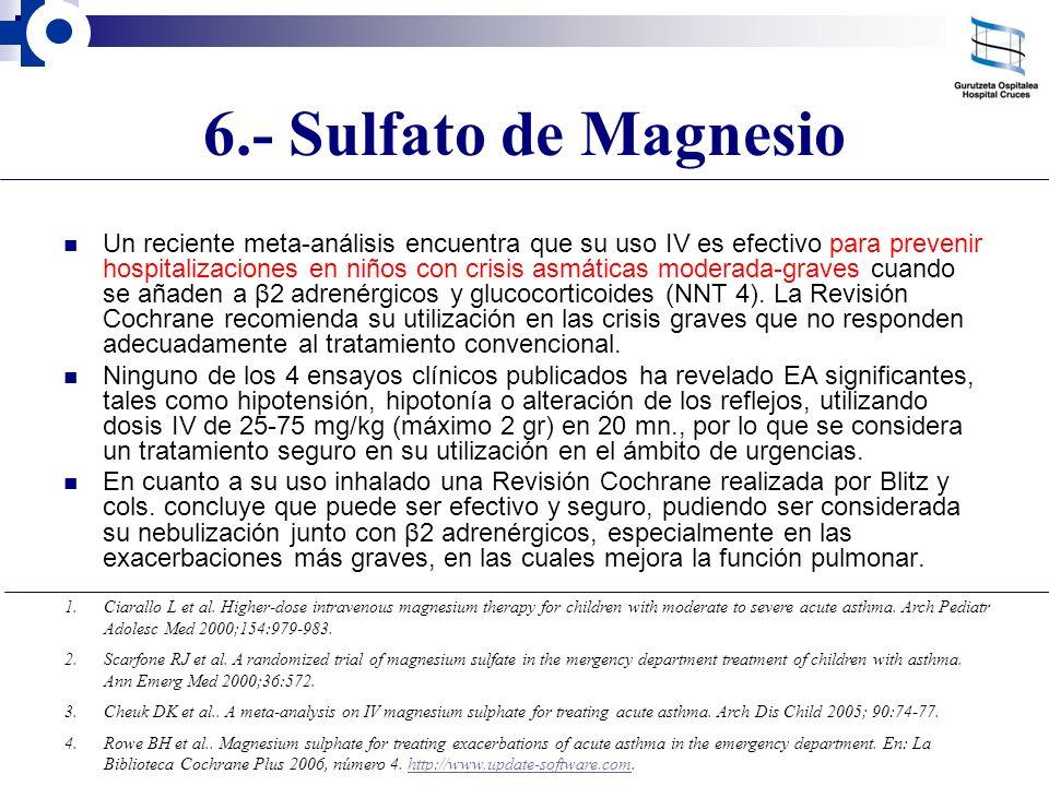 6.- Sulfato de Magnesio Un reciente meta-análisis encuentra que su uso IV es efectivo para prevenir hospitalizaciones en niños con crisis asmáticas mo