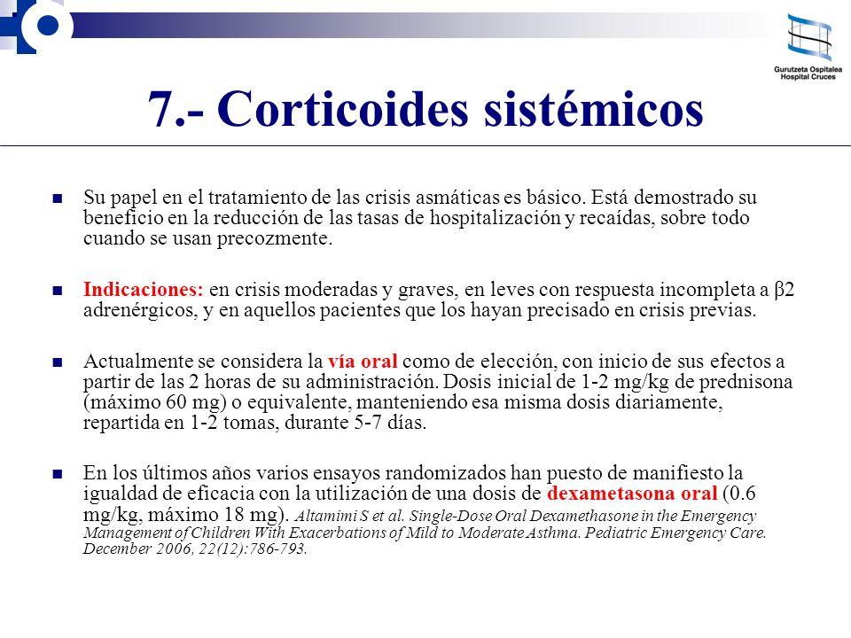 7.- Corticoides sistémicos Su papel en el tratamiento de las crisis asmáticas es básico. Está demostrado su beneficio en la reducción de las tasas de