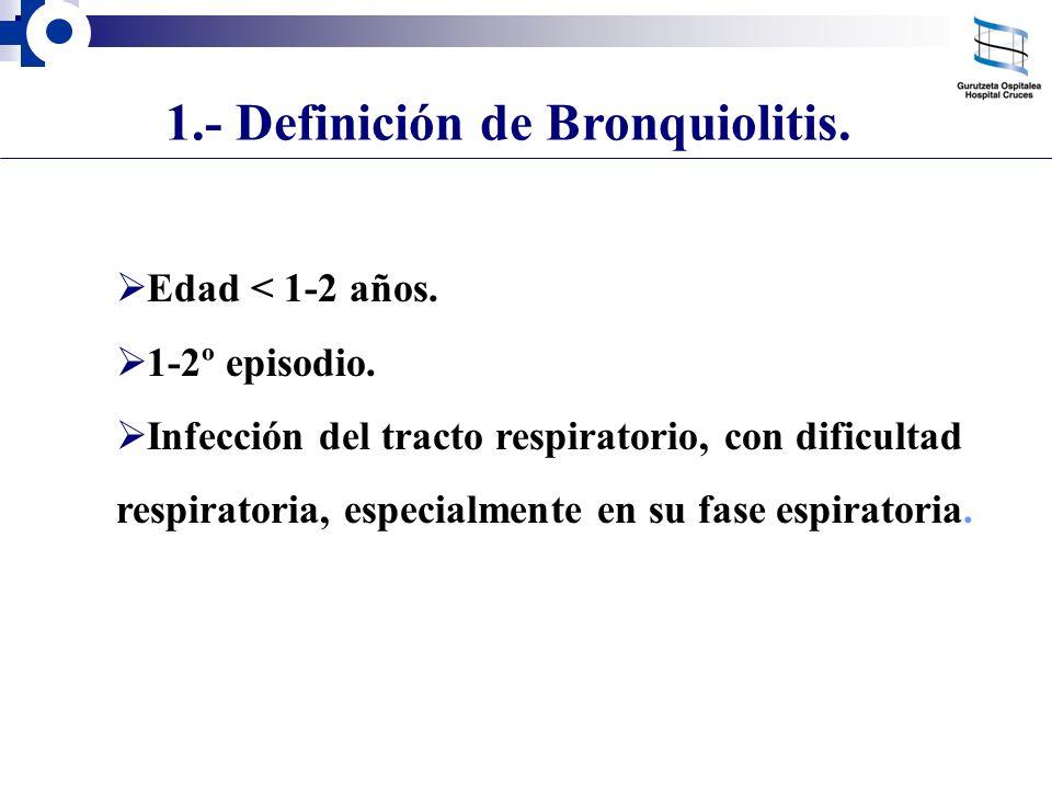 1.- Definición de Bronquiolitis. Edad < 1-2 años. 1-2º episodio. Infección del tracto respiratorio, con dificultad respiratoria, especialmente en su f
