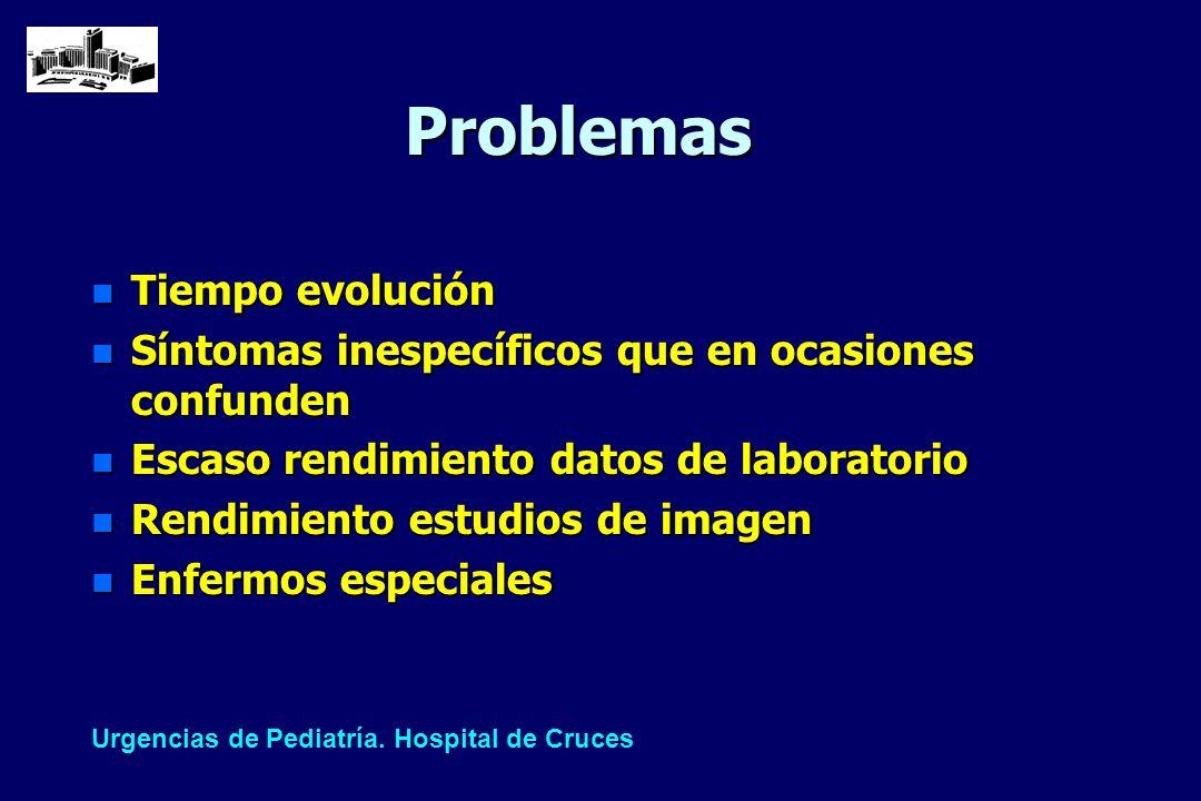 Problemas n Tiempo evolución n Síntomas inespecíficos que en ocasiones confunden n Escaso rendimiento datos de laboratorio n Rendimiento estudios de i