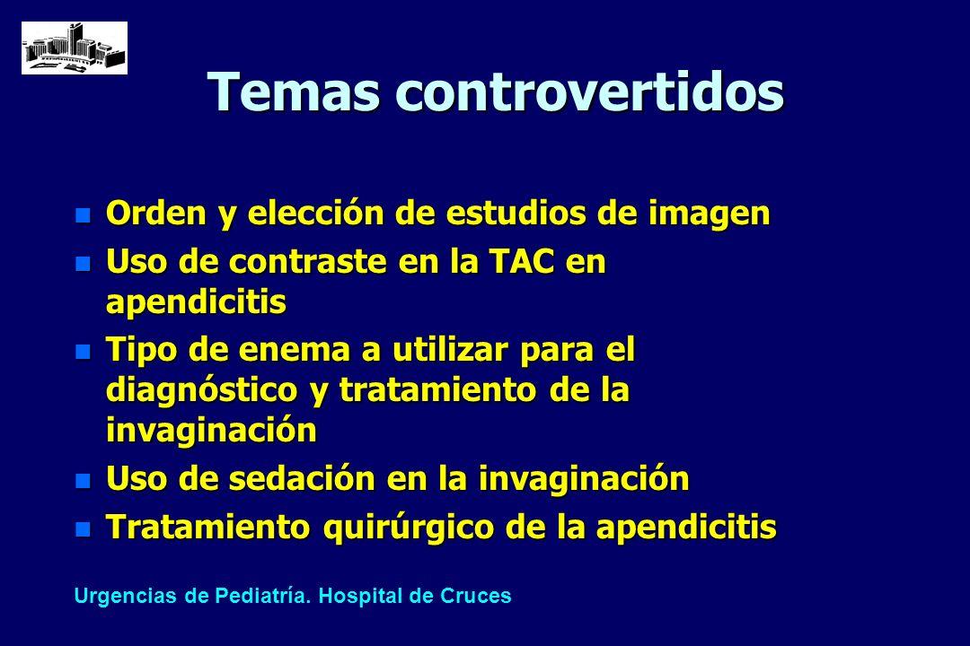 Temas controvertidos n Orden y elección de estudios de imagen n Uso de contraste en la TAC en apendicitis n Tipo de enema a utilizar para el diagnósti