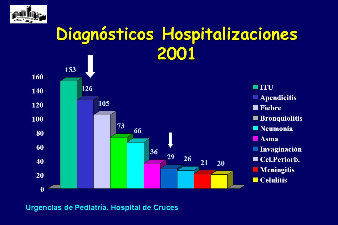 Diagnósticos Hospitalizaciones 2001 153 126 105 73 66 36 29 26 21 20 0 40 60 80 100 120 140 160 ITU Apendicitis Fiebre Bronquiolitis Neumonía Asma Inv