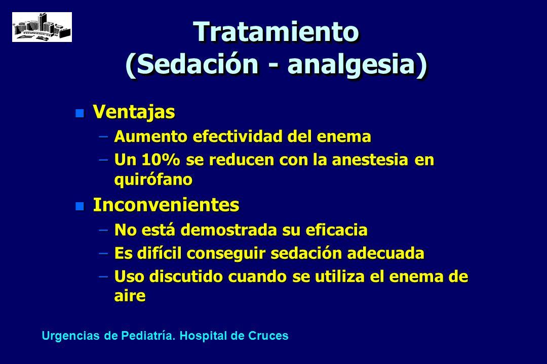 Tratamiento (Sedación - analgesia) n Ventajas –Aumento efectividad del enema –Un 10% se reducen con la anestesia en quirófano n Inconvenientes –No est