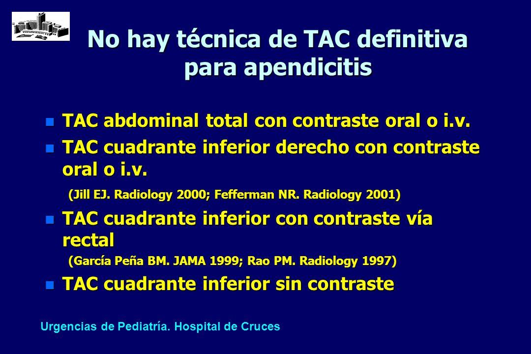 No hay técnica de TAC definitiva para apendicitis n TAC abdominal total con contraste oral o i.v. n TAC cuadrante inferior derecho con contraste oral