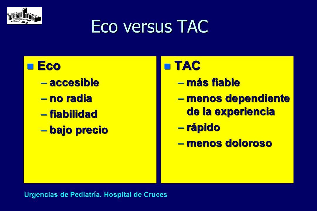 Eco versus TAC n Eco –accesible –no radia –fiabilidad –bajo precio n TAC –más fiable –menos dependiente de la experiencia –rápido –menos doloroso Urge