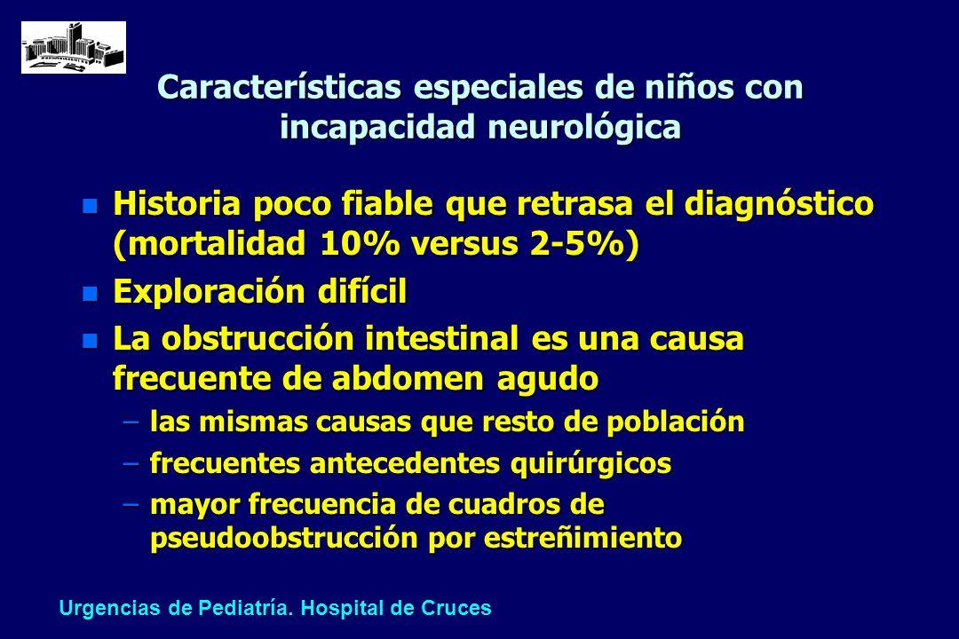 Características especiales de niños con incapacidad neurológica n Historia poco fiable que retrasa el diagnóstico (mortalidad 10% versus 2-5%) n Explo