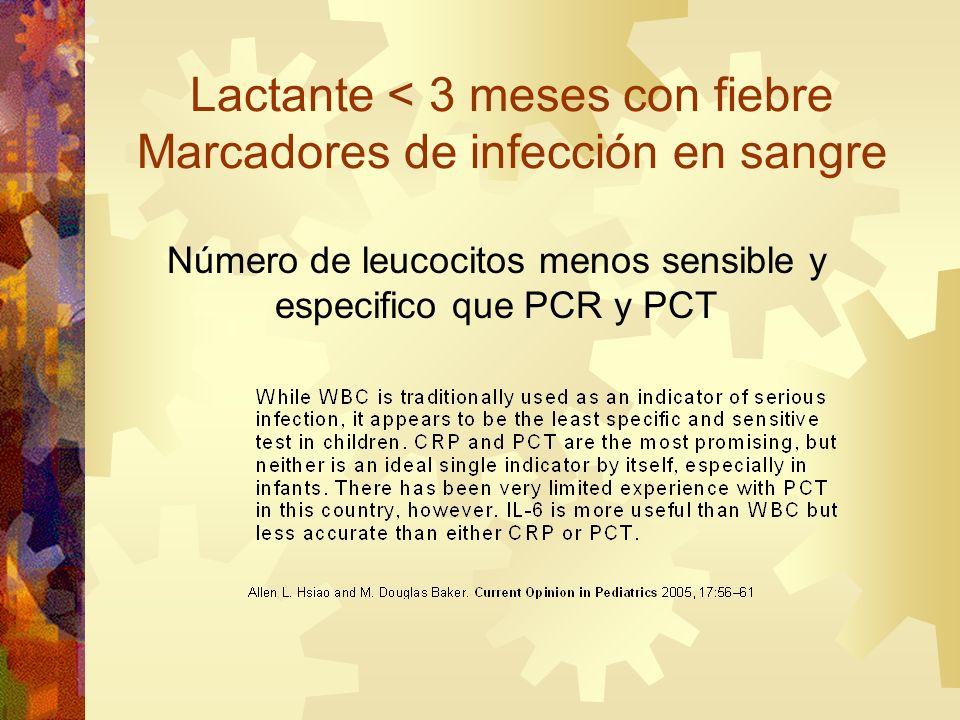 Número de leucocitos menos sensible y especifico que PCR y PCT Lactante < 3 meses con fiebre Marcadores de infección en sangre