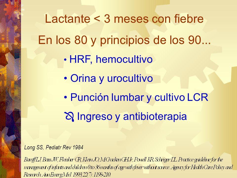 Lactante < 3 meses con fiebre En los 80 y principios de los 90... HRF, hemocultivo Orina y urocultivo Punción lumbar y cultivo LCR Ingreso y antibiote