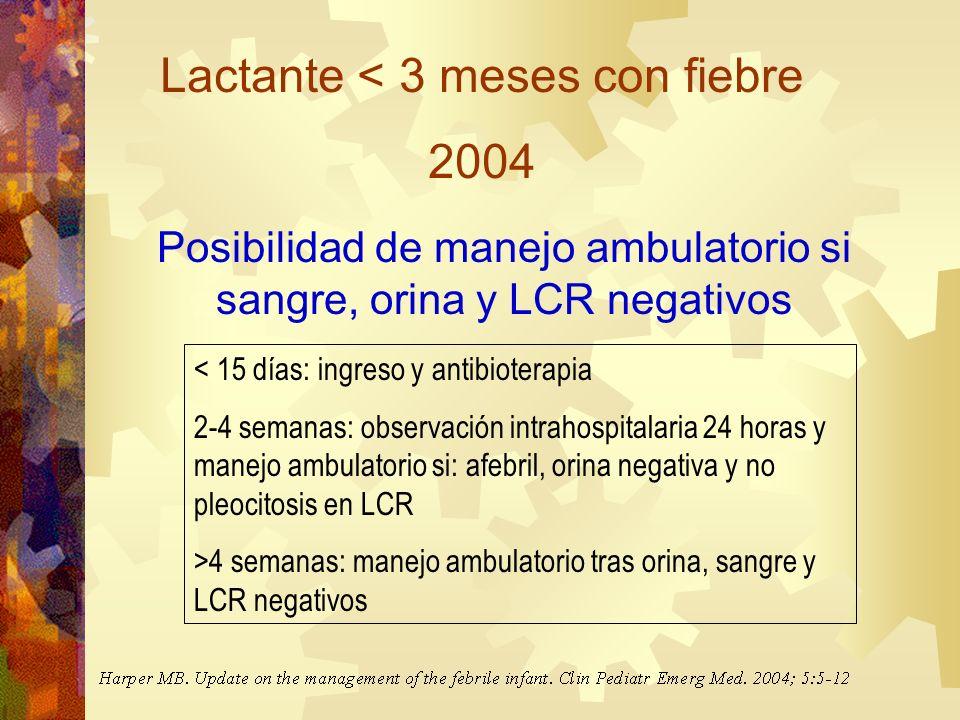 Lactante < 3 meses con fiebre 2004 Posibilidad de manejo ambulatorio si sangre, orina y LCR negativos < 15 días: ingreso y antibioterapia 2-4 semanas: