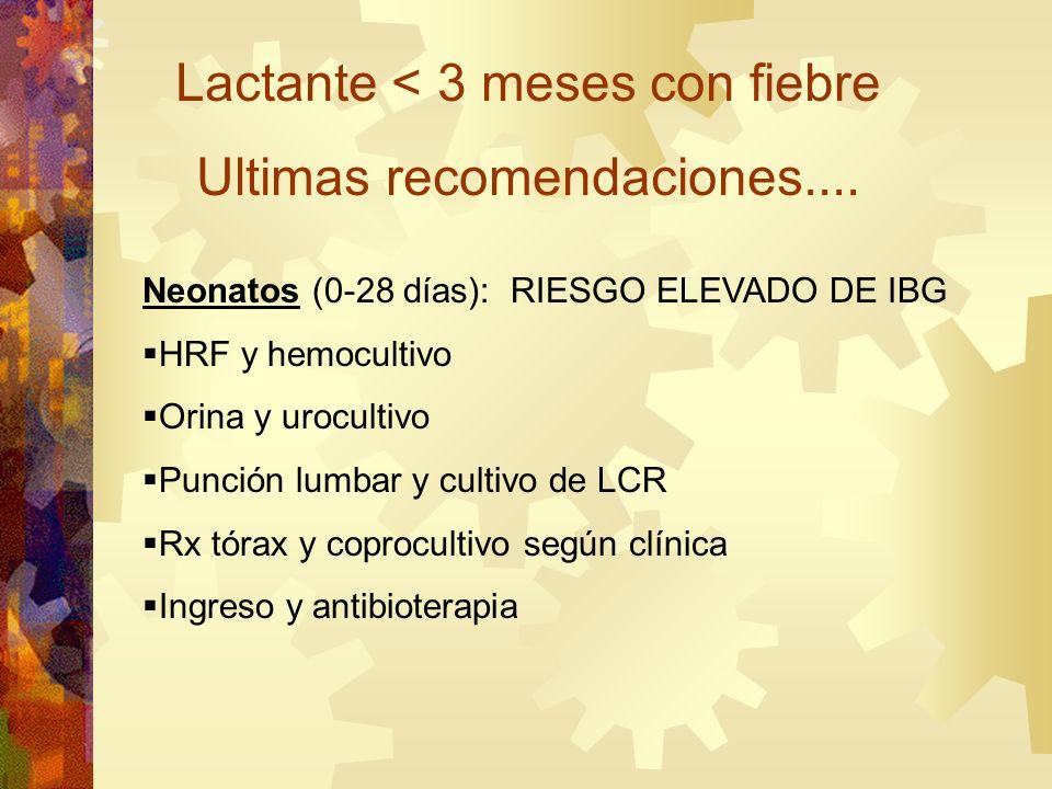 Lactante < 3 meses con fiebre Ultimas recomendaciones.... Neonatos (0-28 días): RIESGO ELEVADO DE IBG HRF y hemocultivo Orina y urocultivo Punción lum