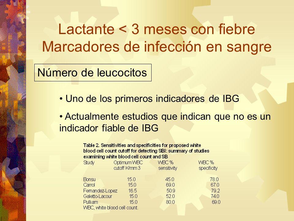 Lactante < 3 meses con fiebre Marcadores de infección en sangre Número de leucocitos Uno de los primeros indicadores de IBG Actualmente estudios que i