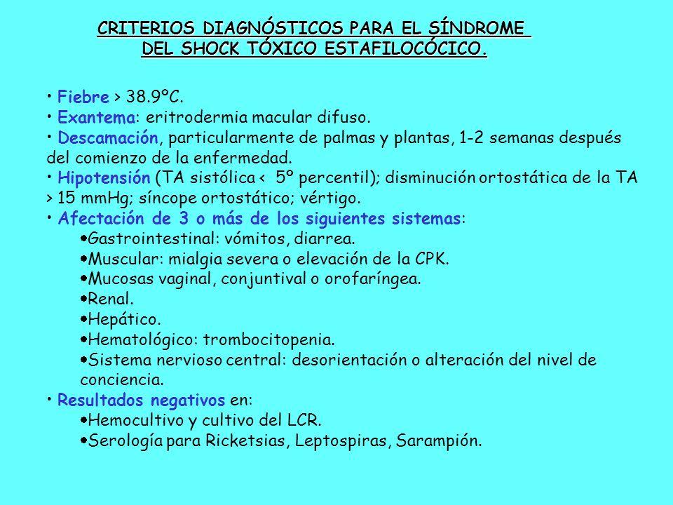 Fiebre > 38.9ºC. Exantema: eritrodermia macular difuso. Descamación, particularmente de palmas y plantas, 1-2 semanas después del comienzo de la enfer