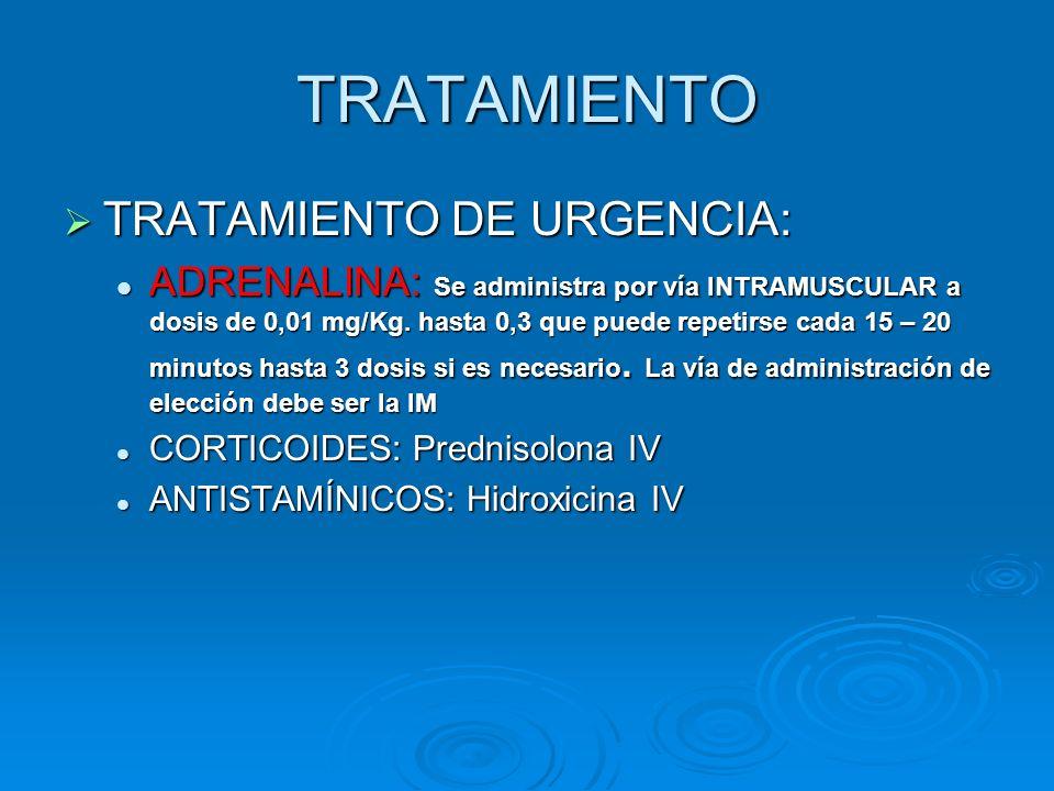 TRATAMIENTO TRATAMIENTO DE URGENCIA: TRATAMIENTO DE URGENCIA: ADRENALINA: Se administra por vía INTRAMUSCULAR a dosis de 0,01 mg/Kg. hasta 0,3 que pue