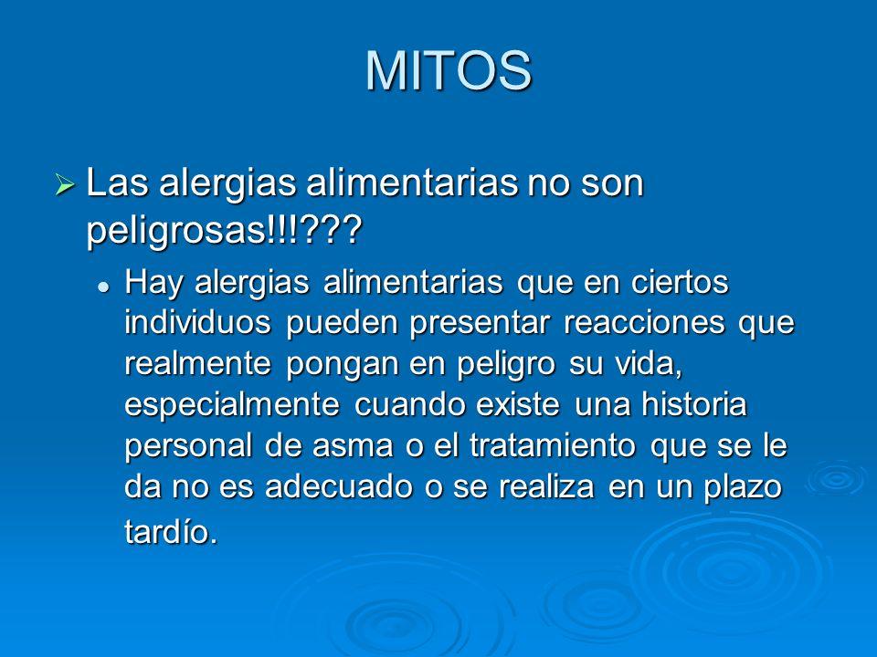MITOS Las alergias alimentarias no son peligrosas!!!??? Las alergias alimentarias no son peligrosas!!!??? Hay alergias alimentarias que en ciertos ind